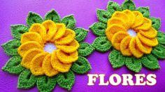 VIDEO FLOR DE 12 PETALOS -  Flores tejidas a crochet de 12 pétalos con hojitas para tapetes y centro...