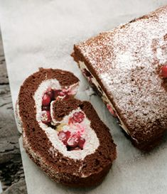 Chocolate roulade with red currants  Recipe here: http://www.womansown.co.uk/food/valentine-warners-chocolate-roulade-with-redcurrants/