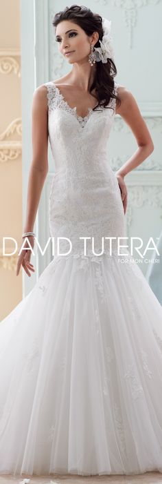 The David Tutera for Mon Cheri Fall 2015 Wedding Gown Collection - Style No. 215280  Myriamme  #laceweddingdresses