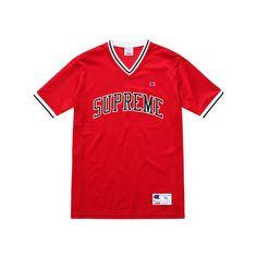 CONTINUA LA COLLABORAZIONE TRA SUPREME E CHAMPION (€86) ❤ liked on Polyvore featuring tops, jersey, shirts, red shirt, champion jersey, jersey top, champion shirt and red top