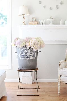 Dreamy Whites: hydrangeas, peonies, and a french zinc bucket~making cut flowers last longer