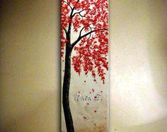 ORIGINAL árbol de flor rojo moderno pintura contemporánea arte Vertical grande pintura árbol arte Home Decor por Nata S.MADE2ORDER de textura