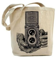 Vintage Rolleiflex Camera - Eco Friendly Canvas Tote Bag