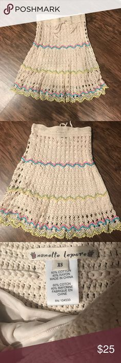 Nanette Lepore Crochet Skirt size xs Cute Nanette Lepore Crochet cream Skirt  with pink, blue, green and yellow color for a little fun. Lining has buttons so it can be removable. drawstring waist. size xs Nanette Lepore Skirts
