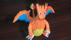 3D origami Pokemon Charizard (Dragon) tutorial