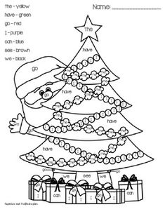 kindergarten printable color by sight word pages christmas tree santa color by sight