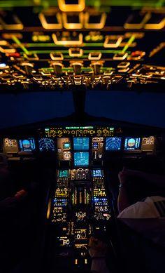 A well illuminated flight deck at night . . .