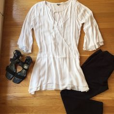 "Khush white top. Khush white blouse.  33""from shoulder to hem.  Great to wear with tights. Worn once. Top is so beautiful and flowing. Tops Blouses"