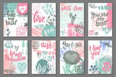 Vector romantic cards collection By Fancy Art