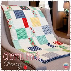 Charm Pack Cherry FREE quilt patter, featuring April Showers by Bonnie & Camille Charm Pack Quilt Patterns, Charm Pack Quilts, Charm Quilt, Quilt Patterns Free, Free Pattern, Quilt Baby, Diy Baby Quilting, Quilting Fabric, Patchwork Quilting