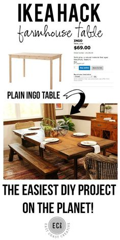 IKEA HACK: Build a Farmhouse Table the Easy Way! Two IKEA tables join to become one awesome farmhouse table! Such an easy DIY project from East Coast Creative Furniture Projects, Home Projects, Diy Furniture, Kitchen Furniture, Furniture Plans, Recycling Furniture, Furniture Design, Furniture Dolly, Furniture Assembly