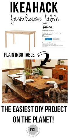 Ikea Hack Farmhouse Table .  Build a farmhouse table the easy way! Tutorial from East Coast Creative