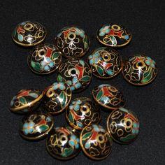 Vintage black teardrop glass beads with lotus etching--20 mm.