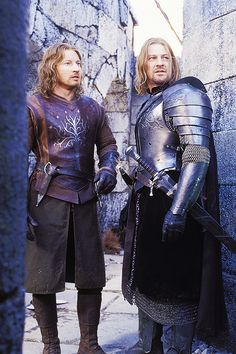 "David Wenham and Sean Bean in character as ""Faramir"" and ""Boromir"" on the set of ""The Lord of the Rings: The Two Towers"" 2002."