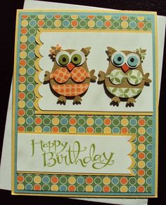 Stampin' Up! Owl Punch Art by Paper Ecstasy - Beach Babes, So Saffron, Baja Breeze, and Whisper White card stock Scrap for eyes and beak Wild Wasabi, Bashful Blue, Tangerine Tango, and Basic Black DSP Just Add Cake, and Gingham Garden Wild Wasabi ink Scallop Border, and Owl builder Punch