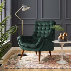 Living Room Green, Accent Chairs For Living Room, My Living Room, Living Room Decor, Mid Century Living Room, Green Rooms, Green Armchair, Green Chairs, Green Velvet Chairs