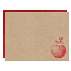 Red Apple Letterpress on Natural Recycled Chipboard Card