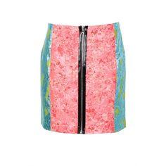Markus Lupfer Mix Ashley Skirt ($185) ❤ liked on Polyvore featuring skirts, mini skirts, markus lupfer, metallic jacquard skirt, red skirt, jacquard skirt and zipper mini skirt