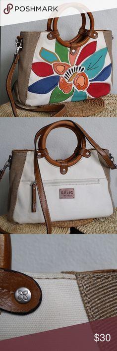 d7eaa6eedf Wood handle Crossbody Bag Relic  leather pacthwork Relic Brand. Like New  Bags Crossbody Bags