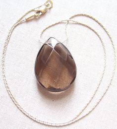 Smokey Quartz and Sterling Silver Necklace