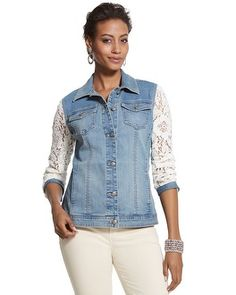 Chico's Denim and Lace Jacket #chicos