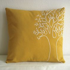 Yellow Tree Pillow Cover by MaDahms on Etsy