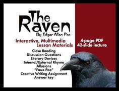 the raven by edgar allan poe lesson plans worksheets with key edgar allan poe and edgar allan. Black Bedroom Furniture Sets. Home Design Ideas