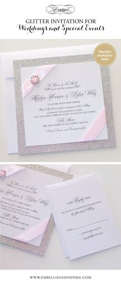Elegant Glitter Wedding Invitation - White, Silver Glitter and Blush Pink - White metallic card stock - Silver Glitter paper - Light Pink Ribbon and Rhinestone Buckle. Couture Wedding Invitation. Colors can be customzied.  www.embellishedpaperie.com
