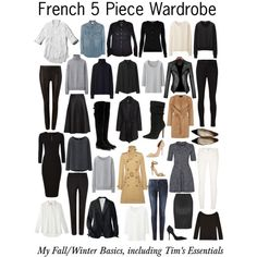 French 5 Piece Wardrobe - Basics by charlotte-mcfarlane on Polyvore featuring Abercrombie & Fitch, Uniqlo, J.Crew, Yves Saint Laurent, Oasis, Polo Ralph Lauren, Jaeger, H&M, J Brand and 7 For All Mankind