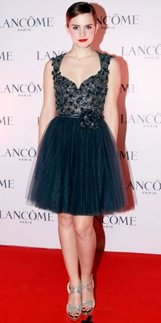 Emma Watson in Elie Saab... could she maybe stop with the slicked back hair though? I'd appreciate that...