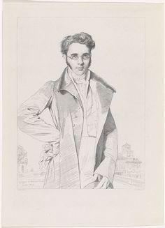 Edouard Taurel | Portret van Benoit Taurel, Edouard Taurel, Henriette Ursula Claire Taurel, Benoit Taurel, 1819 | Portret van Benoit Taurel, als jongeman met bril, staand met zijn hand in zijn zij, zijn handschoenen in zijn hand.