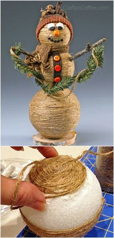 40 Rustic DIY Twine Projects To Decorate Your Home And Garden 40 Rustic DIY Twine Projects To Decorate Your Home And Garden Handwerk nach Hause Crafty Christmas Gifts, Burlap Christmas, Diy Christmas Ornaments, Christmas Deco, Homemade Christmas, Christmas Projects, Holiday Crafts, Twine Crafts, Snowman Decorations