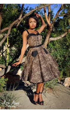 Pinup Couture Betsey Swing Dress in Leopard and Black | Pinup Girl Clothing