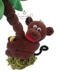 THE ORIGINAL Baby Washcloth Monkey Diaper by PrincessAndThePbaby, $9.95