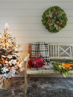 Classic plaids, rustic elements and cozy lights make this entryway ready for the #holidays. #hgtvmagazine http://www.hgtv.com/design/make-and-celebrate/holidays/a-house-that-was-made-for-the-holidays-pictures?soc=pinterest