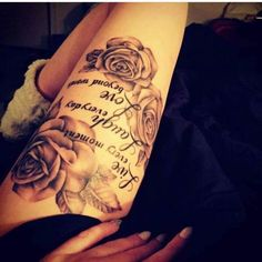 20 Thigh Rose Tattoos With Words Ideas And Designs