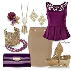 Look purple and beige Roxo com bege