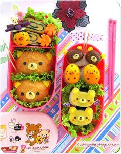 Bento, in Rilakkuma! Japanese Bento Box, Japanese Food Art, Cute Bento Boxes, Bento Box Lunch, Bento Food, Rilakkuma, Sushi Comida, Kawaii Cooking, Kawaii Bento
