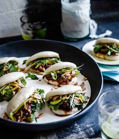 Gua bao (steamed buns) with braised pork ribs recipe from Gourmet traveller !--Gua bao (steamed buns )recipe adapted from Momofuku's David Chang recipe . This whole recipe sounds great!