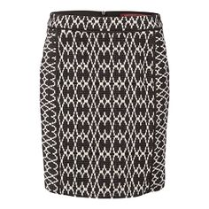 COMPTOIR DES COTONNIERS |Reflexe Slim ikat jacquard skirt in black and off white | 56% cotton 30% viscose 14% polyacrylic / Yoke: 92% viscose 7% wool 1% elastane | A slim pencil skirt adorned with a twin-coloured jacquard motif and delicate piping details | £120
