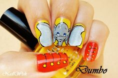 Dumbo...love that the ears are on separate nails but I am not sure about the red nails, maybe Timothy or a feather instead? Get Nails, Love Nails, Hair And Nails, Trendy Nail Art, Cute Nail Art, Crazy Nails, Fancy Nails, Disney Inspired Nails, Manicure