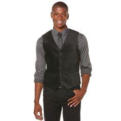 Perry Ellis Herringbone Velveteeen Vest in Black for Men | Lyst