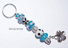 Blue charms KEYCHAIN Flower charm keychain by DrastiqueBoutique, €6.30
