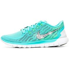 b88930d47de93 Blinged Womens Nike 5.0 Running Shoes Aqua Customized With Swarovski  Crystal Rhinestones New In Light Blue