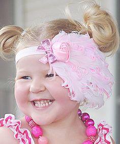 Loving this Pink & White Big Feather Headband on #zulily! #zulilyfinds
