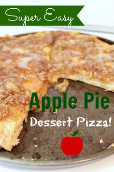 Quick and easy Apple Pie Dessert Pizza. People at my house are requesting dessert pizza, and I didn't know how. This looks great!