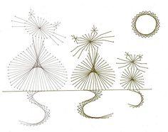 Latest Trend in Paper Embroidery - Craft & Patterns String Art Templates, String Art Tutorials, String Art Patterns, Embroidery Cards, Cross Stitch Embroidery, Embroidery Patterns, Hand Embroidery, String Art Diy, Arte Linear