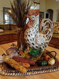 Fall vignette. Love the Rooster!