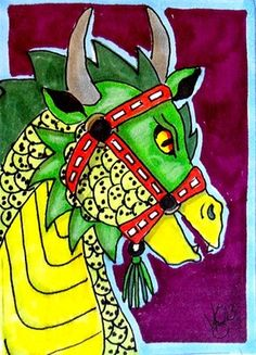 "Aceo Original ""CAROUSEL DRAGON""  ON EBAY"