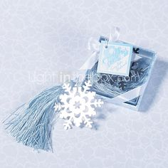 Silver Finish Snowflake Bookmark With Ice Blue Tassel - USD $1.99